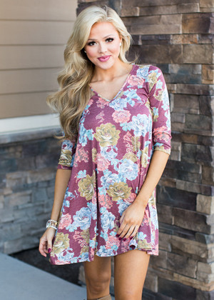 A Love Like You Floral 3/4 Sleeve Dress Burgundy