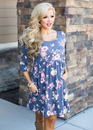 Do It Like Me Floral 3/4 Sleeve Pocket Dress Gray