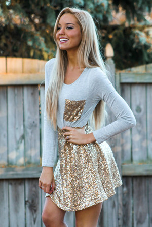 Hit the Lights Long Sleeve Sequin Tunic