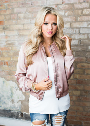 Nothing Ever Stays the Same Bomber Jacket Dusty Rose