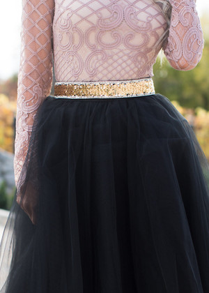 Sequins Gold Adjustable Belt