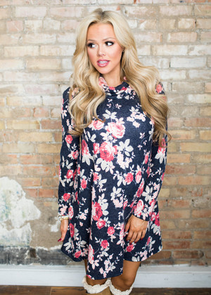 It's Complicated Floral Cowl Neck Long Sleeve Tunic Navy/Pink CLEARANCE