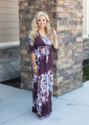 It's Over Now Floral Tie Maxi Dress Plum