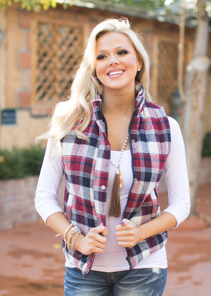 Sooner or Later Plaid Vest CLEARANCE