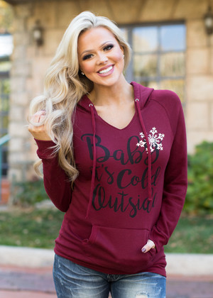 Baby it's Cold Outside Burgundy Hoodie CLEARANCE