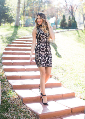 Gold Sequins Damask Choker Dress Black