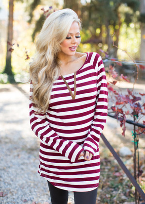 It's All on You Striped Long Sleeve Top CLEARANCE