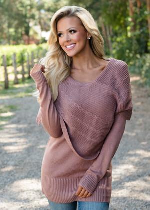 Blissful Knit Cowl Neck Sweater Tunic Mauve