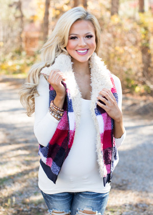 Perfect Plaid Fur Zip Up Vest
