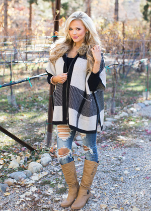 In My Direction Plaid Zip Up Fur Hooded Poncho Beige/Black