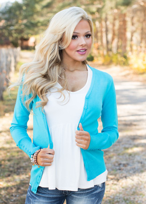 Plain and Simple Button Up Cardigan Aqua CLEARANCE