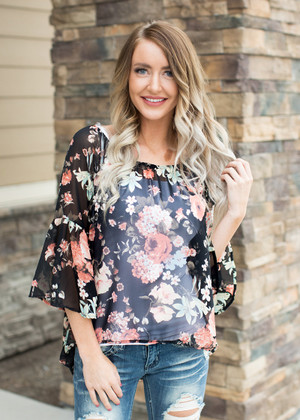 There's No Other Floral Top Black