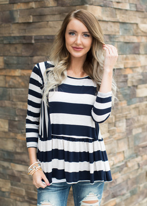 Look Me in the Eyes Striped Top Blue/Ivory