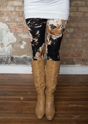 Beige Floral Leggings Black