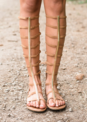 All the Way Up Gladiator Sandals Tan/Gold CLEARANCE