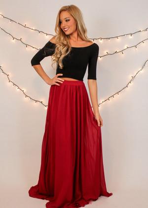 Perfectly Draped Chiffon Burgundy Maxi Skirt