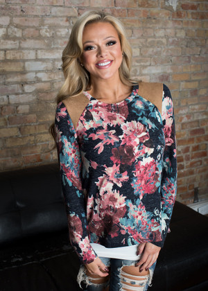 Loving Life Floral Suede Top Pink CLEARANCE