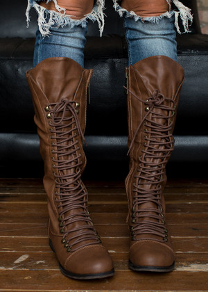 Tall Tie Up Combat Boots Brown