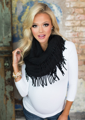 Never Give Up Knit Infinity Fringe Scarf Black CLEARANCE