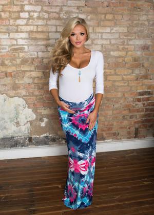 Amazing Tie Dye Maxi Skirt Pink/Blue