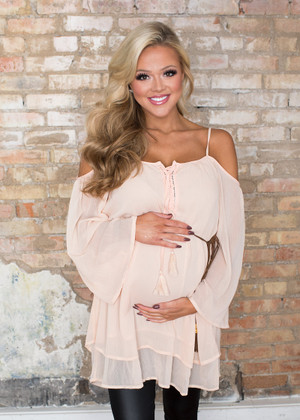 Simple and Elegant Off Shoulder Tunic Light Pink