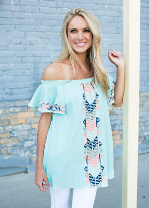Colorful Embroidered Flare Top Mint