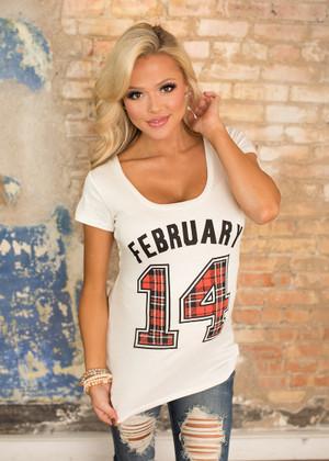 February 14 Plaid Short Sleeve Top CLEARANCE