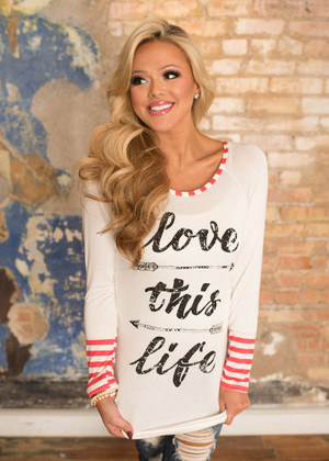 Love This Life Striped Cuff Top Coral CLEARANCE