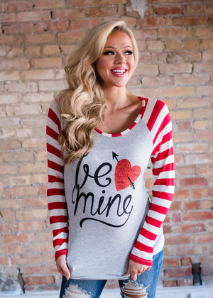 Red/White Striped Long Sleeve Be Mine Top Gray