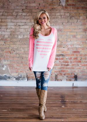 Neon Pink Striped Heart Baseball Top CLEARANCE