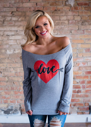 My Heart is Filled with Love Pocket Top Gray