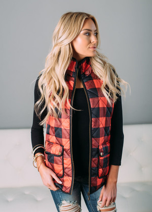 When I Close My Eyes Checkered Vest Black/Red CLEARANCE