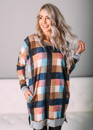 Standing on the Edge Colorful Checkered Tunic CLEARANCE