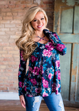 Only in My Dreams Floral Criss Cross Top Navy