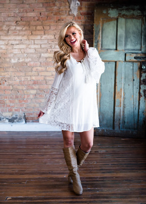 Hard Not to Love Crochet Lace Bell Sleeve Dress White