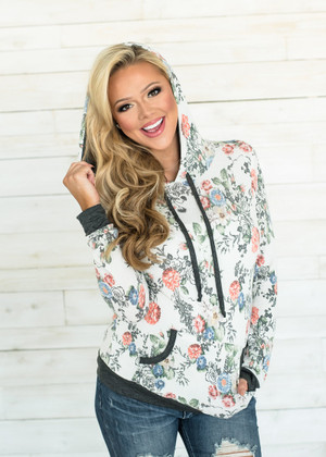 How About You Floral Hoodie Ivory/Gray