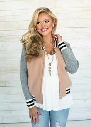 Warm and Cozy Pink Sweater Bomber Jacket
