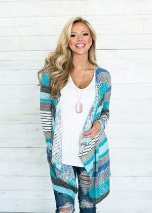 Without The Love Striped Cardigan Mint