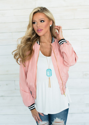 Light Weight Striped Trim Bomber Jacket Blush