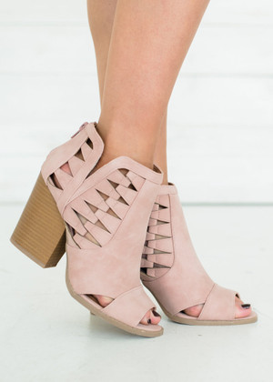 Up to No Good Suede Cut Out Booties Blush