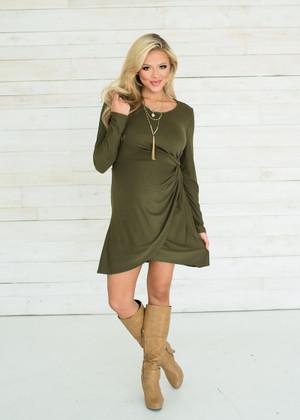 Olive Twist Layer Dress