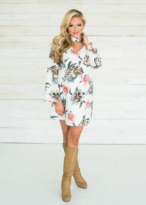 All Week Long Bell Sleeve Choker Floral Dress White