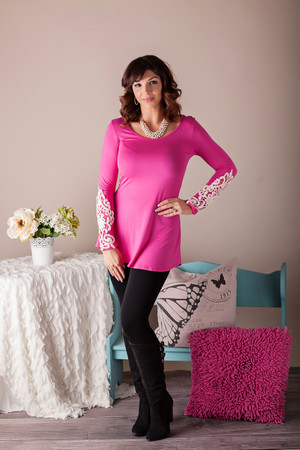 Laced with Class Tunic Top Hot Pink CLEARANCE