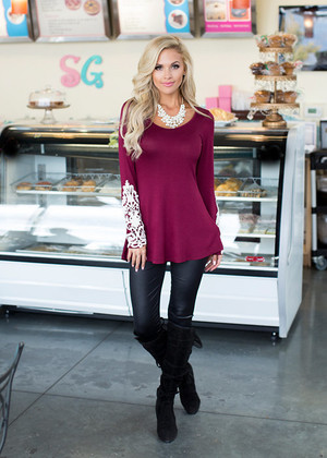 Laced with Class Tunic Top Burgundy CLEARANCE