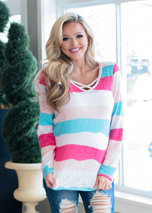 Tell You Where to Go Criss Cross Color Block Top
