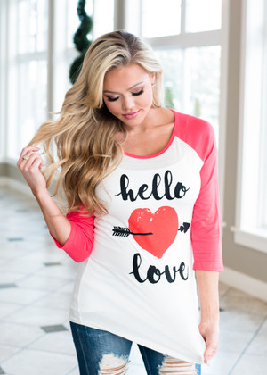 Hello Love 3/4 Sleeve Top Coral/Ivory CLEARANCE