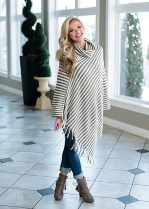 Stripe Me So Good Poncho Taupe