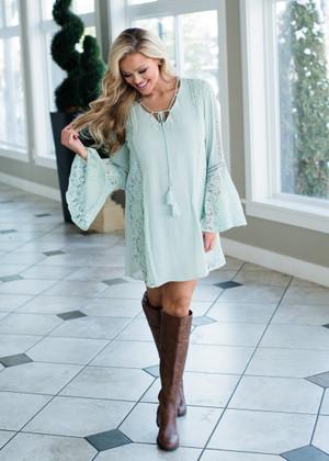 Hard to Love Crochet Lace Bell Sleeve Dress Mint