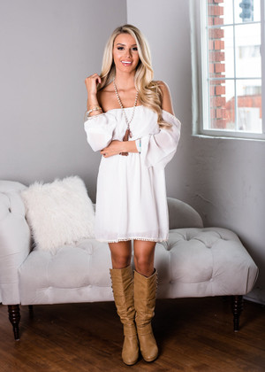 Feeling Powerful Off Shoulder Dress Ivory