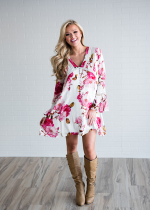 In a Heartbeat Floral Dress White